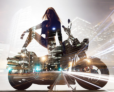 Buy stock photo Multiple exposure shot of a sexy young woman on a superbike with a city backdrop
