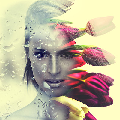 Buy stock photo Multiple exposure shot of an attractive young woman and beautiful flowers