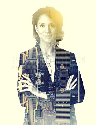 Buy stock photo Multiple exposure shot of a corporate businesswoman superimposed over a city
