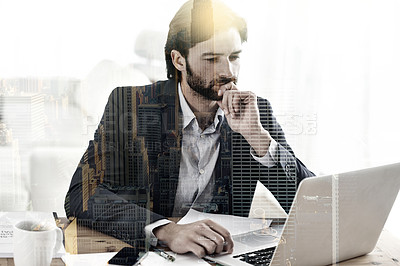 Buy stock photo Multiple exposure shot of a businessman in his office superimposed over a city