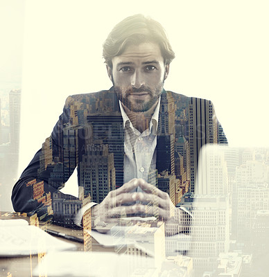Buy stock photo Multiple exposure portrait of a businessman in his office superimposed over a city