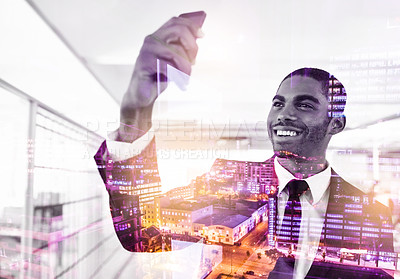 Buy stock photo Multiple exposure shot of a young businessman taking a selfie