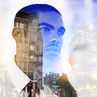 Buy stock photo Multiple exposure shot of a contemplative young businessman superimposed over a city