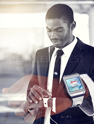 Buy stock photo Multiple exposure shot of a young businessman and a closeup of his smartwatch