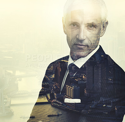 Buy stock photo Cropped portrait of a corporate businessman superimposed over a city