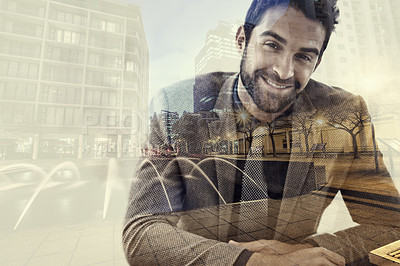 Buy stock photo Multiple exposure portrait of a young businessman superimposed over a city
