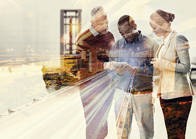 Buy stock photo Cropped shot of three businesspeople superimposed over a city