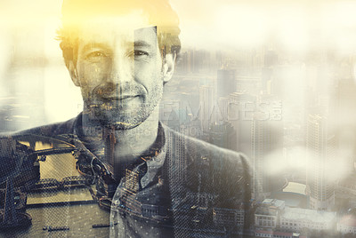 Buy stock photo Multiple exposure portrait of a businessman superimposed over a city
