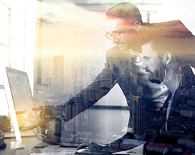 Buy stock photo Multiple exposure shot of two businessmen in the office superimposed against a city