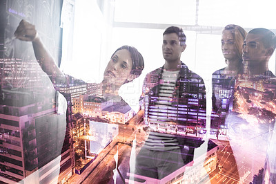 Buy stock photo Multiple exposure shot of a group of businesspeople working on plans superimposed over a city