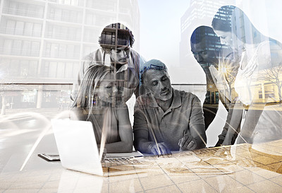 Buy stock photo Multiple exposure shot of a group of colleagues working in their office