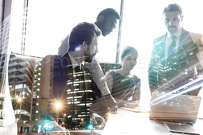 Buy stock photo Multiple exposure shot of colleagues in a meeting superimposed over a city background