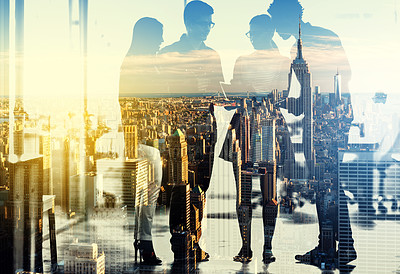 Buy stock photo Multiple exposure shot of a group of businesspeople superimposed over a city background