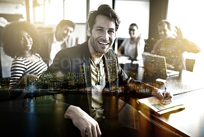 Buy stock photo Multiple exposure portrait of businesspeople in a meeting superimposed over a city