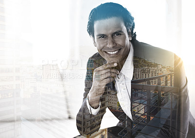 Buy stock photo Multiple exposure shot of a businessman superimposed against a city background