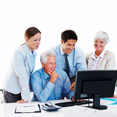 Buy stock photo Happy mature businessman with his group in a meeting - New ideas and plans