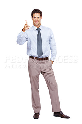 Buy stock photo Portrait of a smart young male business executive pointing his hand towards you over white background