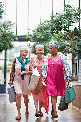Buy stock photo Full length portrait of a three senior women out on a shopping spree