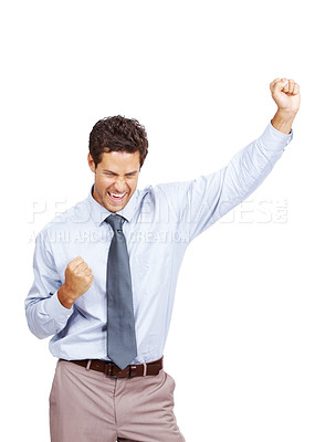 Buy stock photo Very happy energetic businessman with his arms raised isolated over white background