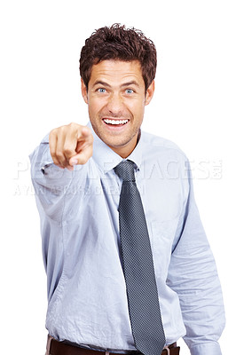 Buy stock photo Portrait of an excited young male business executive pointing at you against white background
