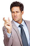 Young businessman showing small size with hand gesture