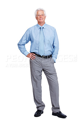 Buy stock photo Full length of a old business man standing confidently over white background