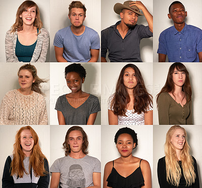 Buy stock photo Composite shot of young people posing in a photo booth