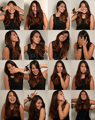 Buy stock photo Composite shot of a young woman posing in a photo booth