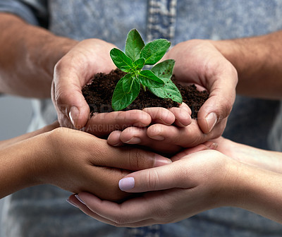 Buy stock photo Cropped shot of a group of people holding a plant growing out of soil