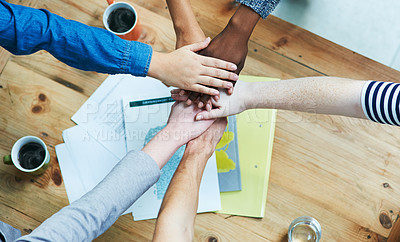Buy stock photo Shot of a group of hands reaching forward together