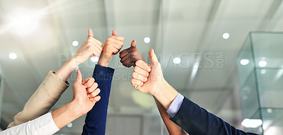 Buy stock photo Shot of a group of hands showing thumbs up in an office