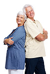 Happy old couple standing back to back over white