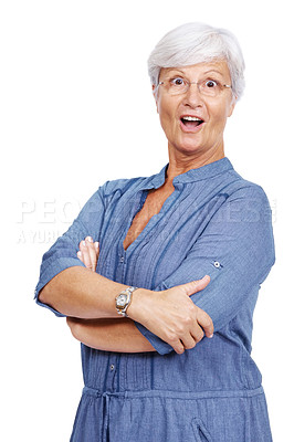 Buy stock photo Portrait of a surprised mature woman standing with folded hands isolated over white background