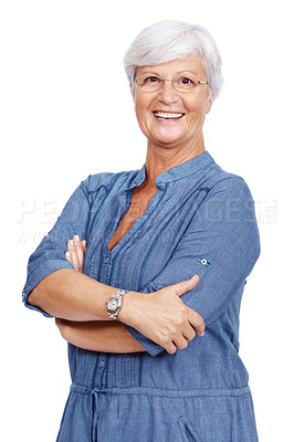 Buy stock photo Portrait of a smiling old female standing with arms crossed isolated over white background