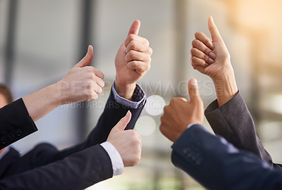 Buy stock photo Shot of a group of office workers giving thumbs up together