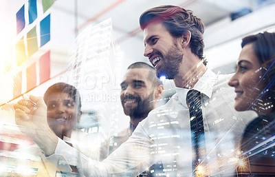 Buy stock photo Multiple exposure shot of businesspeople brainstorming on a glass wall superimposed on a cityscape