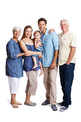Buy stock photo Portrait of a happy family standing together isolated over white background