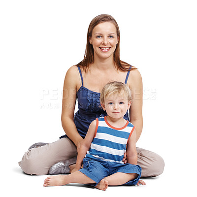 Buy stock photo Portrait of a pretty young female sitting with her small kid isolated over white background