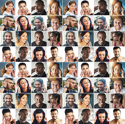 Buy stock photo Composite image of a diverse group of people listening to music