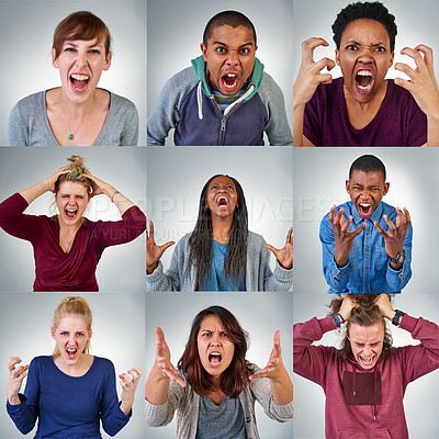 Buy stock photo Composite shot of a group of angry young people