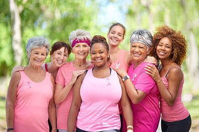 Buy stock photo Portrait of a group of woman taking part in a fitness event to raise awareness for breast cancer