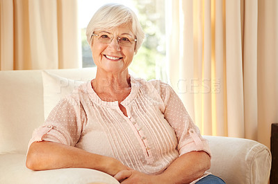 Buy stock photo Cropped portrait of a senior woman at home