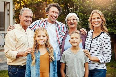 Buy stock photo Cropped portrait of a family of six standing outside