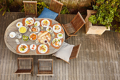 Buy stock photo Shot of an outdoor lunch on a table