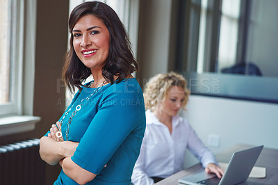 Buy stock photo Portrait of a businesswoman having a meeting with her coworker in an office
