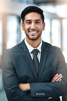 Buy stock photo Shot of corporate businesspeople in the office