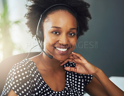 Buy stock photo Portrait of a support agent sitting in a modern office