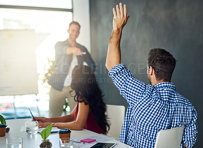 Buy stock photo Cropped shot of a businessman raising his hand in an office meeting