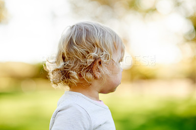 Buy stock photo Shot of a little girl spending time in the park