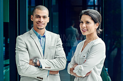 Buy stock photo Portrait of two young successful colleagues at work